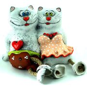 Piggy Bank Cats in Love Couple