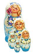 5FM179 Nesting Doll w/Daisies Assorted