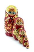5FS296A Nesting Doll  w/Flowers Assorted