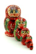 5FS460 Nesting Doll  w/Poppies Assorted Small
